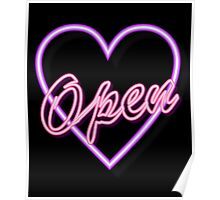 neon tube light typography open pink heart  Poster