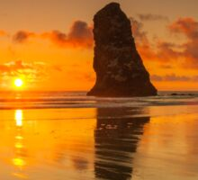Beautiful Orange Sunset at The Needles - Haystack Rock - Cannon Beach, Oregon Sticker
