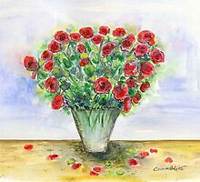 Red Roses in a Vase by Caroline  Lembke