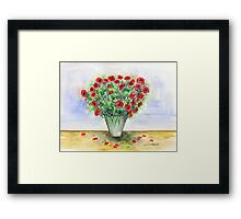 Red Roses in a Vase Framed Print