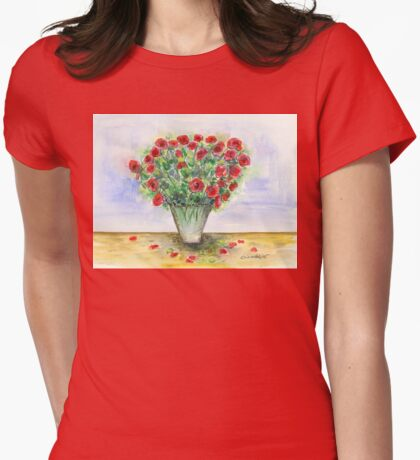 Red Roses in a Vase Womens Fitted T-Shirt