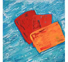 Red Orange And Yellow Squares Abstract Painting Photographic Print
