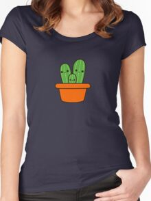 Cute cactus in orange pot Women's Fitted Scoop T-Shirt