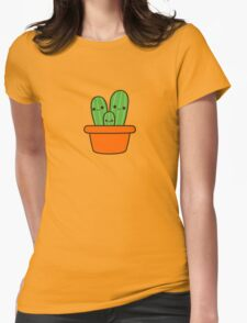 Cute cactus in orange pot Womens Fitted T-Shirt
