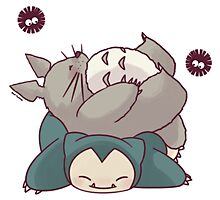 Totoro & Snorlax Photographic Print