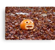Pumpkin and Beech Leaves Canvas Print