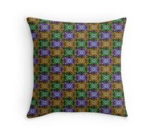 K115 Purple, Gold and Green Stamp Pattern Design  Throw Pillow