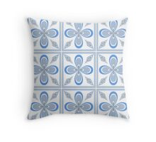 Gray, Blue and White Tiled Pattern Throw Pillow