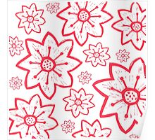 White With Big Red Flowers Poster