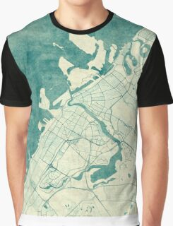 Dubai Map Blue Vintage Graphic T-Shirt