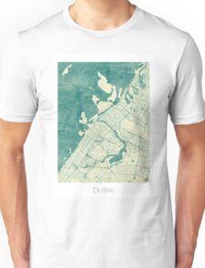 Dubai Map Blue Vintage Unisex T-Shirt