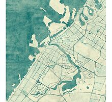 Dubai Map Blue Vintage by HubertRoguski