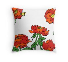 Peony Flowers Throw Pillow