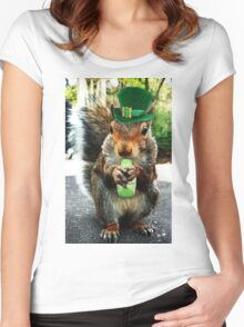 drunk squirrel Women's Fitted Scoop T-Shirt