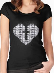 studded heart and cross Women's Fitted Scoop T-Shirt