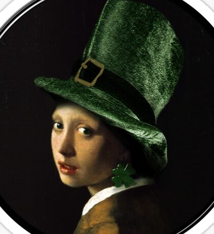 The Girl With the Shamrock Earring Sticker