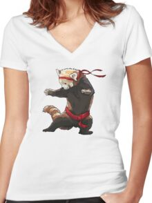 Red Panda FIGHT Women's Fitted V-Neck T-Shirt