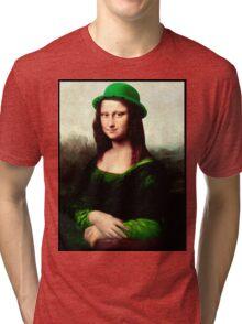 Lucky Mona Lisa - St Patrick's Day Tri-blend T-Shirt