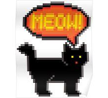 8-Bit Cat Meowing Poster