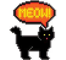 8-Bit Cat Meowing Photographic Print
