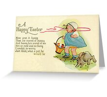 Happy Easter cute vintage toddler girl basket eggs Greeting Card