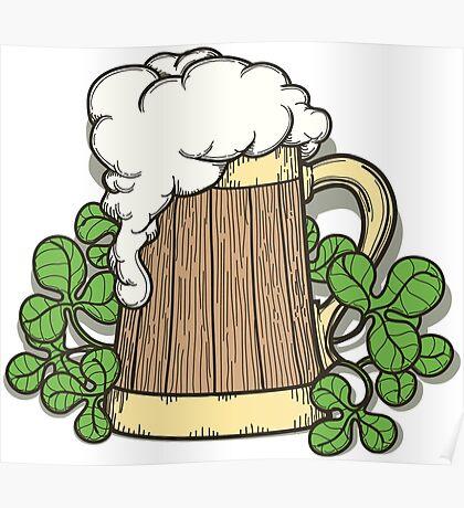 Beer Mug in Cartoon Style Poster