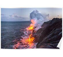 Kilauea Volcano Lava Flow Sea Entry 3- The Big Island Hawaii Poster