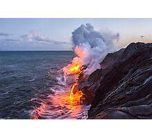 Kilauea Volcano Lava Flow Sea Entry 3- The Big Island Hawaii Photographic Print
