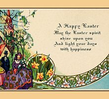 Happy Easter, victorian, people, church scene, verse by aapshop