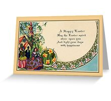 Happy Easter, victorian, people, church scene, verse Greeting Card