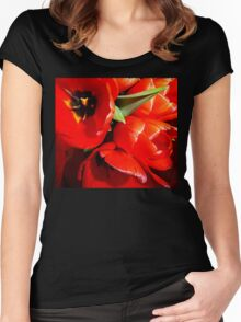 Flaming Tulips Women's Fitted Scoop T-Shirt