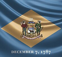 Delaware Coat of Arms over State Flag by Serge Averbukh