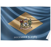 Delaware Coat of Arms over State Flag Poster