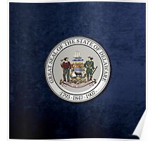Delaware State Seal over Blue Velvet Poster