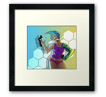 Cyborg Lady With Gun Framed Print