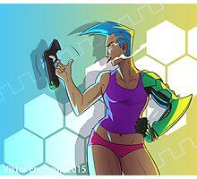 Cyborg Lady With Gun Photographic Print
