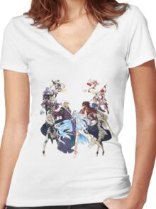 Fire Emblem Fates - Hoshido VS Nohr Women's Fitted V-Neck T-Shirt