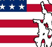 American flag Rhode Island outline Sticker