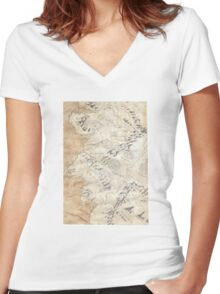 Lord Of The Rings Map - Hand Drawn * Notebooks and Journals added * Women's Fitted V-Neck T-Shirt