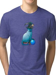 Cat with magic hat and blue crystal ball Tri-blend T-Shirt