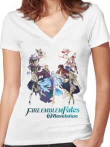 Fire Emblem Fates - Hoshido & Nohr (REVELATION) Women's Fitted V-Neck T-Shirt
