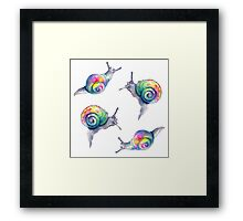 Rainbow Snails Hand-Painted Pattern Framed Print