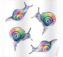 Rainbow Snails Hand-Painted Pattern Poster