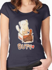 Neko Atsume Cake Box Butt with Snowball and Bandit Women's Fitted Scoop T-Shirt