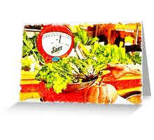 Farmer Market: scale and pumpkin Greeting Card
