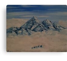 "Everest In The Clouds-Oil on canvas-11""H by 14""W Canvas Print"