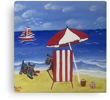 Scottie fun at the beach Canvas Print