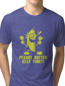 Banana Peanut Butter Jelly Time funny nerd geek geeky Tri-blend T-Shirt