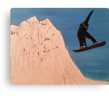 "SNOWBOARDER-Oil on canvas-11""H by 14""W Canvas Print"