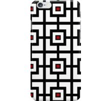 Black White And Red Square Tiled  iPhone Case/Skin